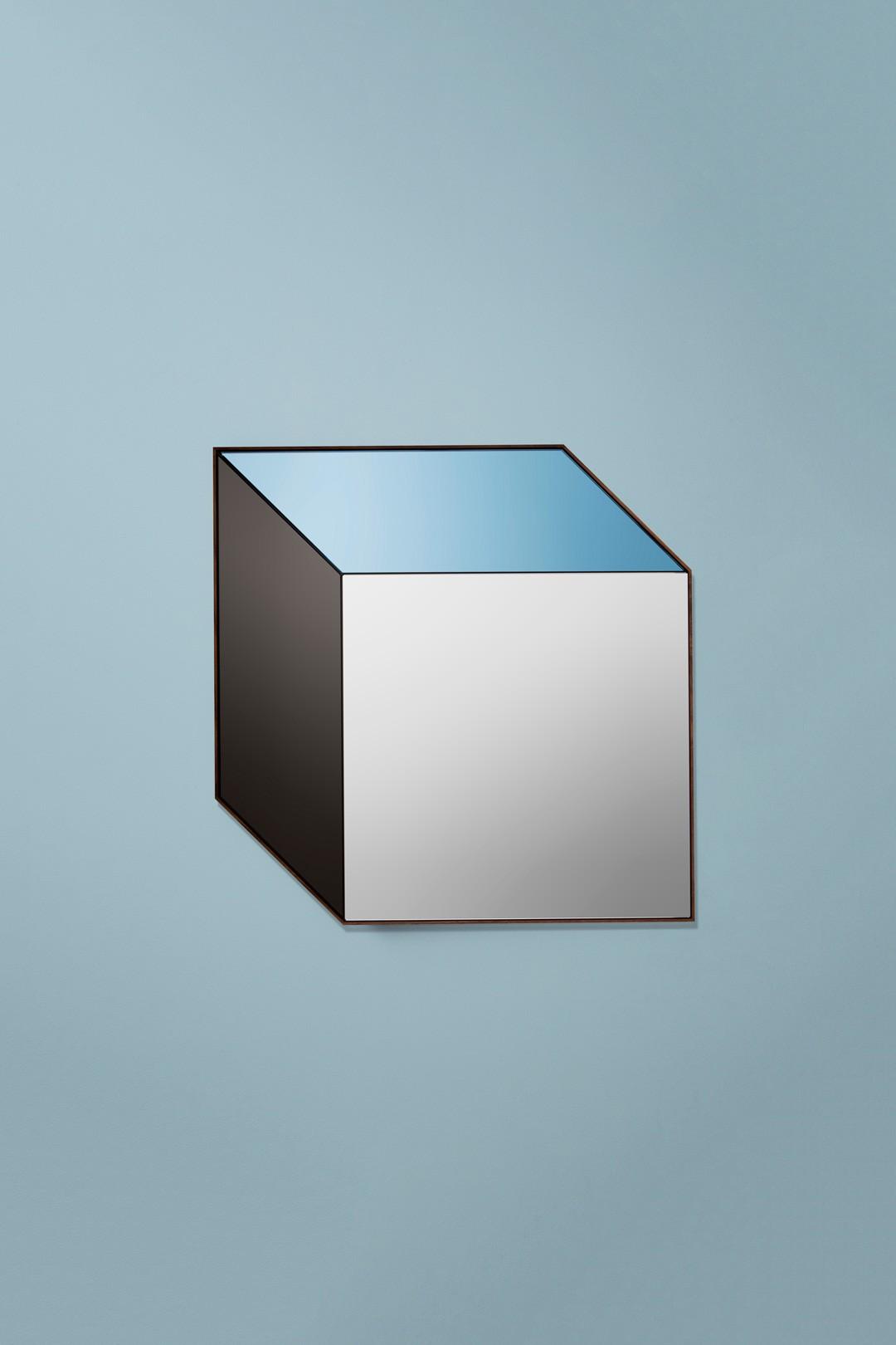 Pyramid Mirror 1 450 Bower Studios Mirrors Cube Blue Black Clear Modern Luxury Contemporary Designer Custom Wall